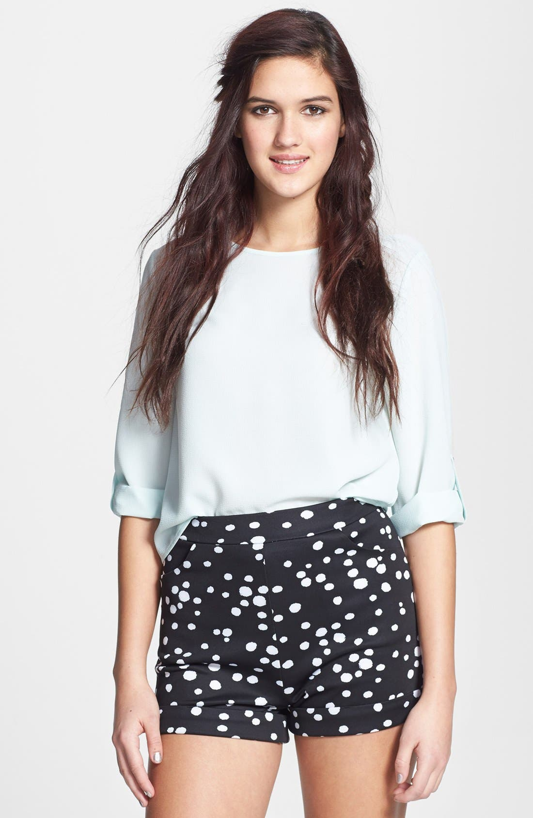 Main Image - Painted Threads High Waist Knit Shorts (Juniors) (Online Only)
