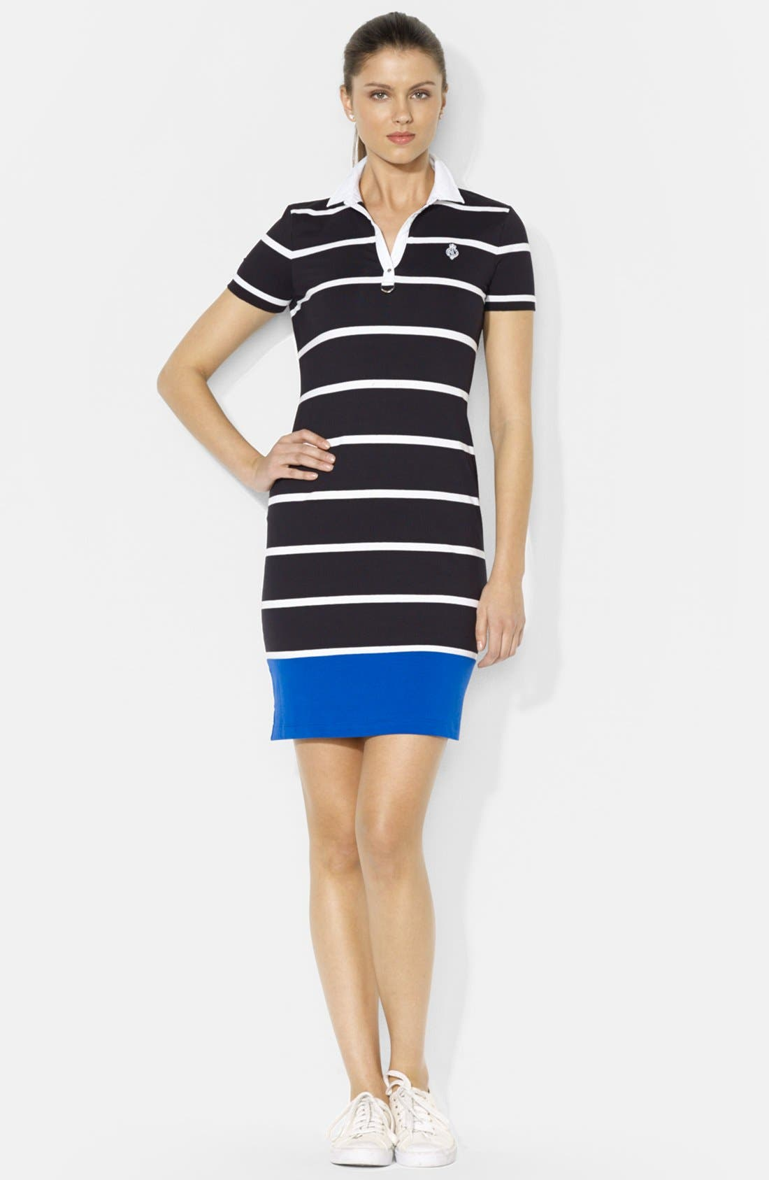 Main Image - Lauren Ralph Lauren Split Neck Stripe Polo Dress