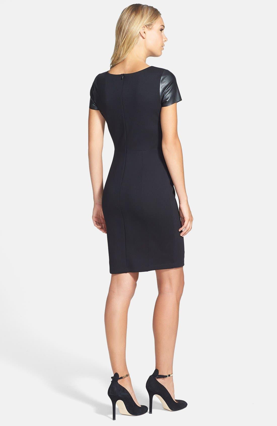 Alternate Image 3  - B44 Dressed by Bailey 44 'Fashion Doll' Faux Leather Sleeves Sheath Dress