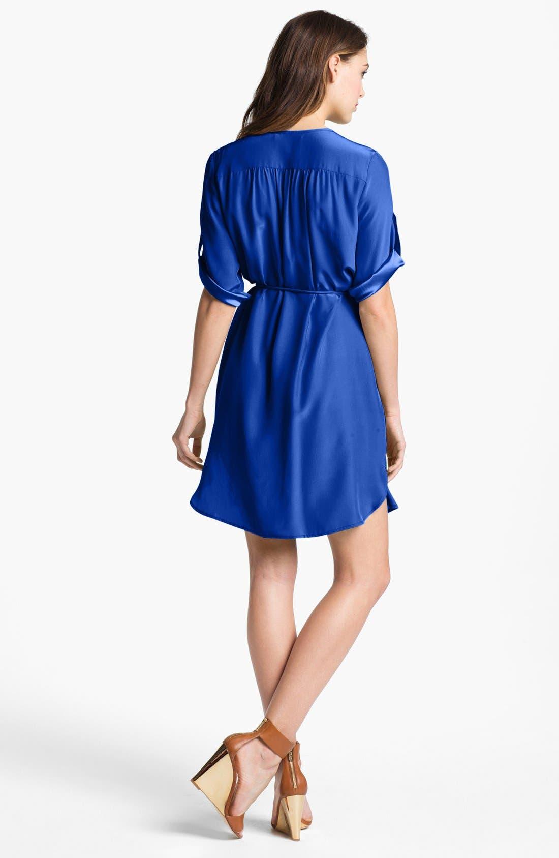 Alternate Image 2  - Amanda Uprichard Roll Sleeve Silk Shirtdress