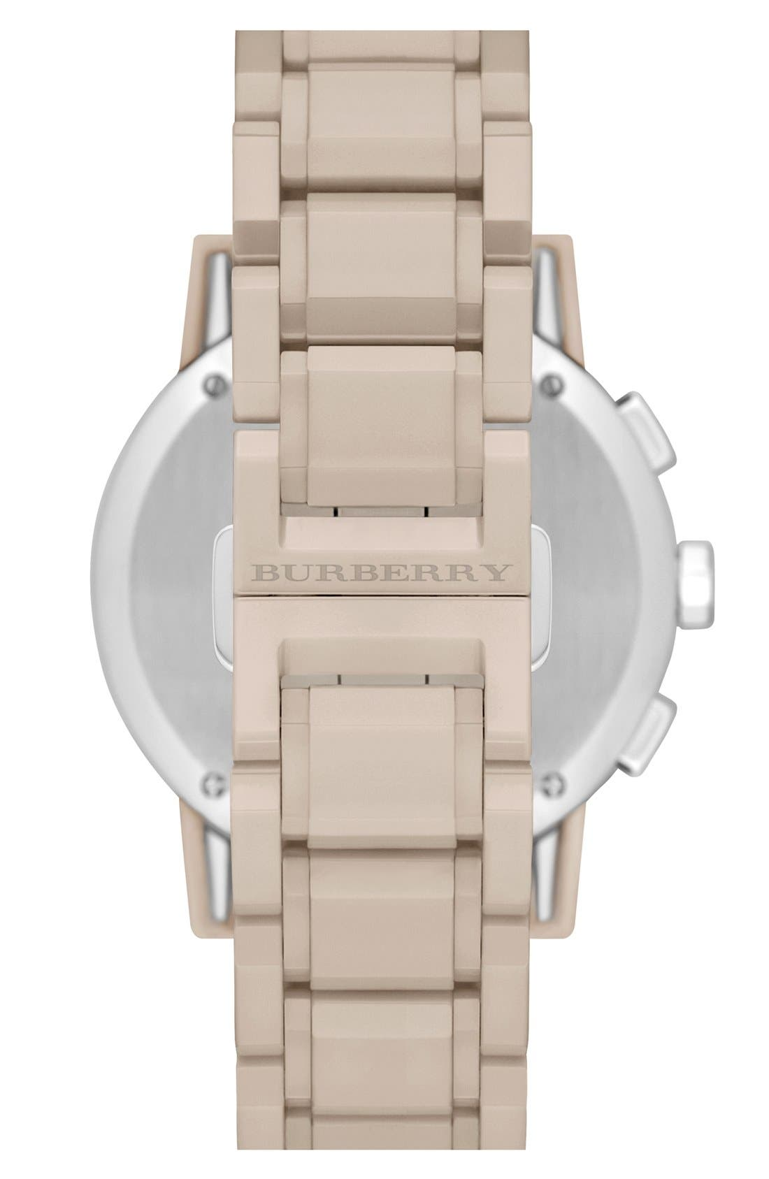 Alternate Image 2  - Burberry Check Stamped Chronograph Ceramic Bracelet Watch, 38mm