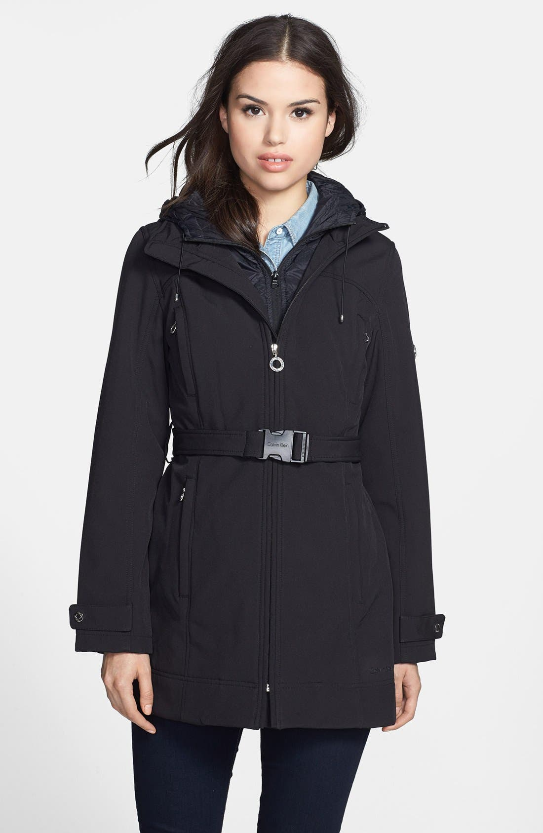 Alternate Image 1 Selected - Calvin Klein Soft Shell Coat with Quilted Front Insert