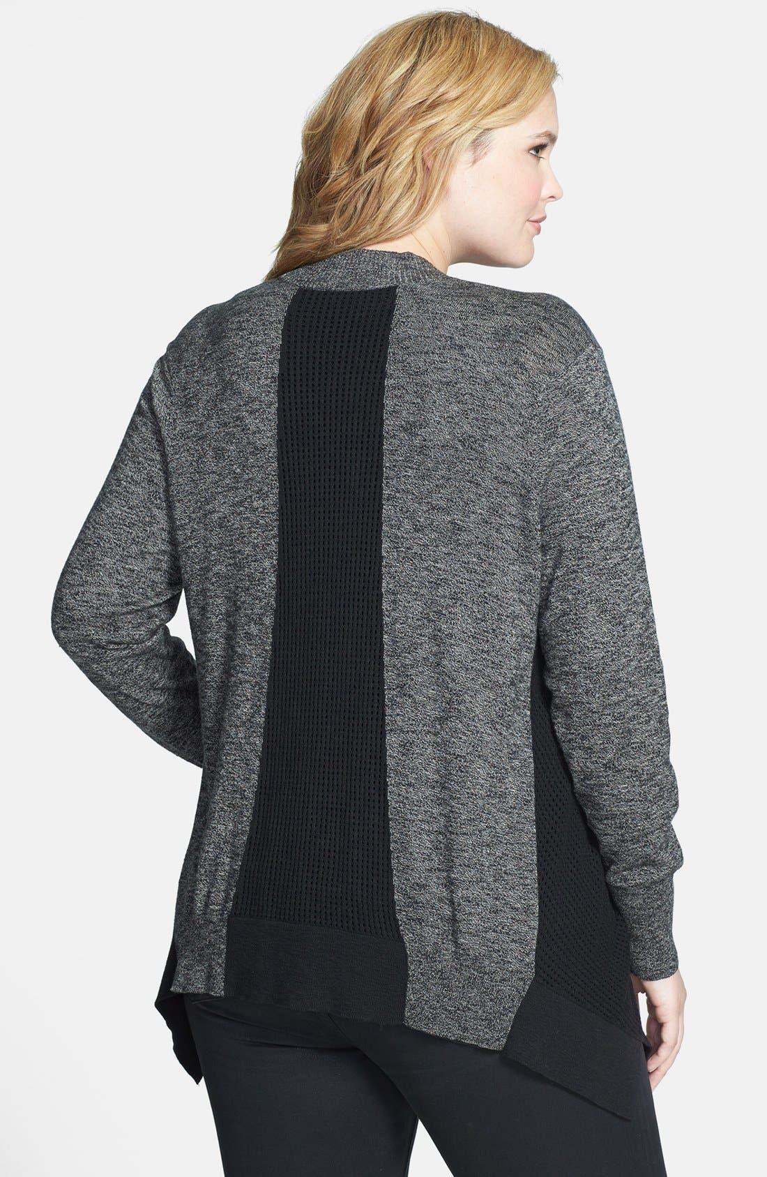 Alternate Image 2  - Sejour Open Stitch Back Inset Cardigan (Plus Size)