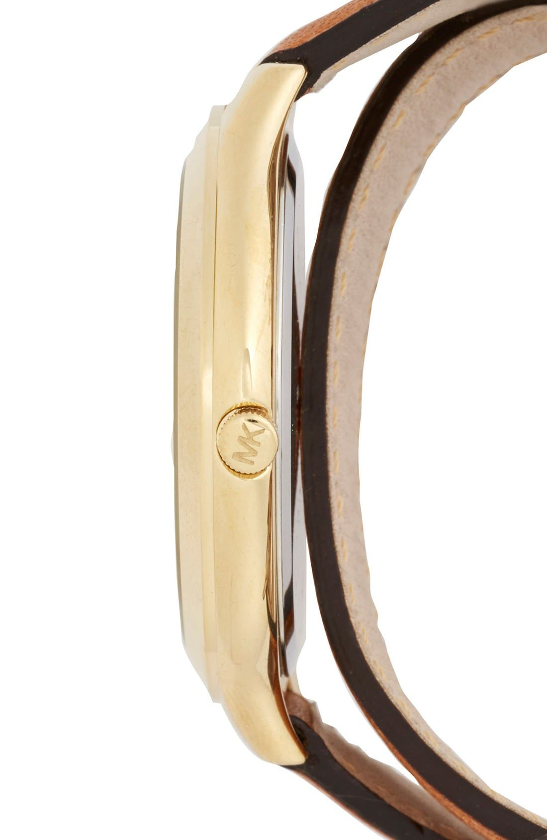 Alternate Image 3  - Michael Kors Double Wrap Leather Strap Watch, 42mm