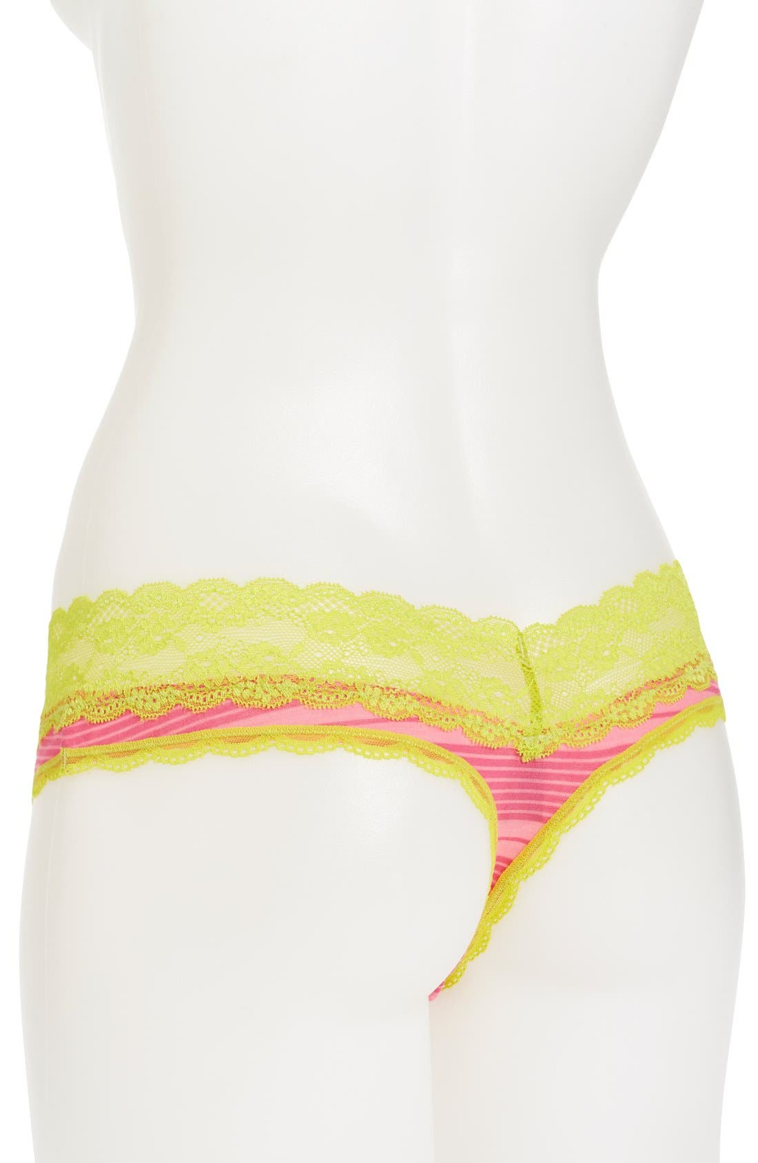 Alternate Image 2  - Honeydew Intimates 'Shadow Stripe' Lace Trim Thong