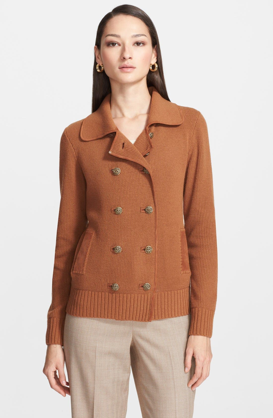 Main Image - St. John Collection Double Breasted Wool & Cashmere Jacket with Suede Trim