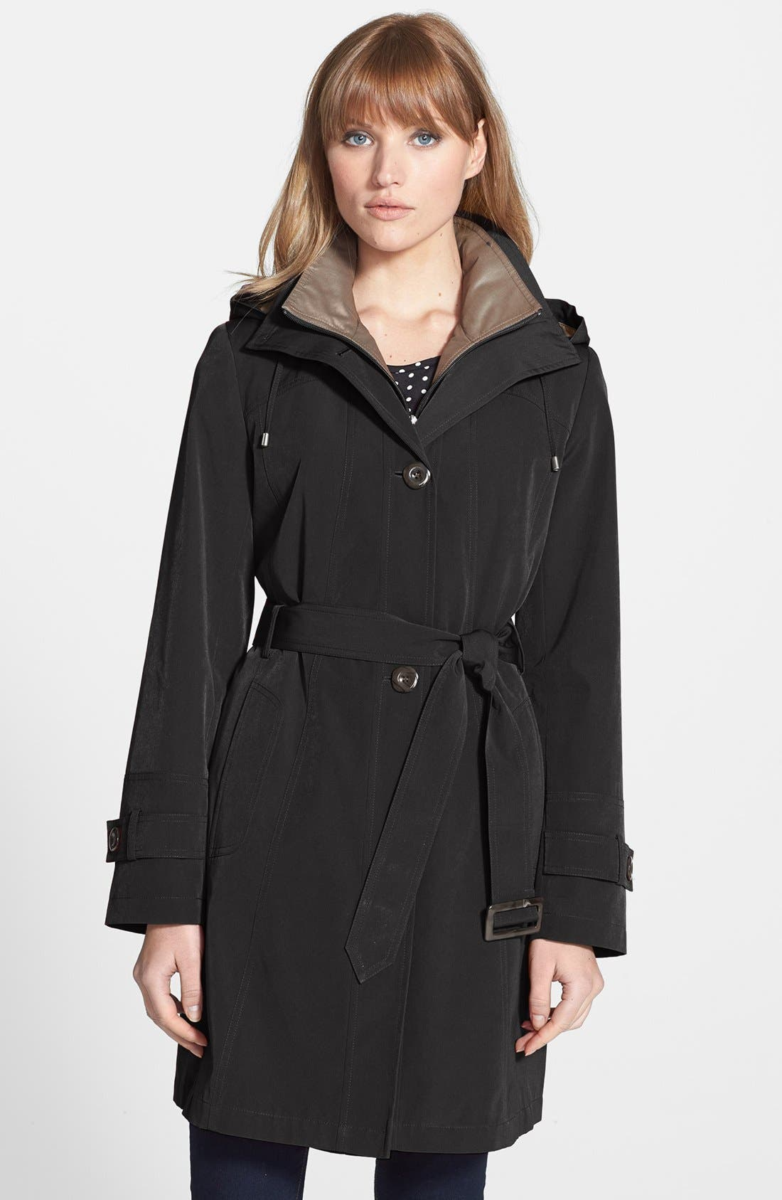 Alternate Image 1 Selected - Gallery Two-Tone Belted Walking Coat with Detachable Hood (Regular & Petite) (Online Only)