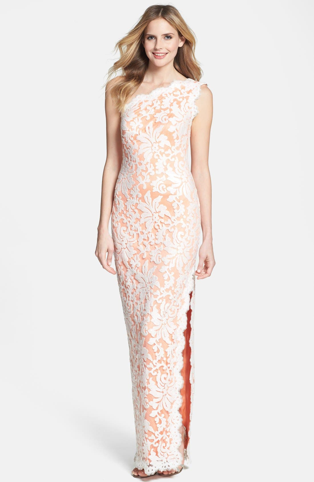 Main Image - Tadashi Shoji Lace One-Shoulder Gown