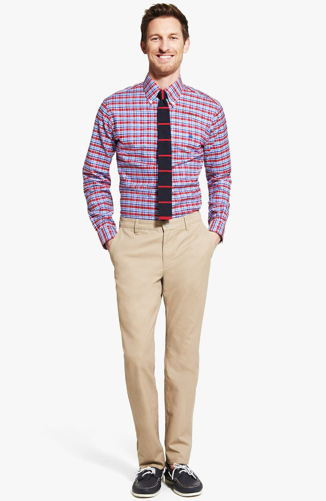 Alternate Image 1 Selected - Brooks Brothers Non-Iron Slim Fit Sport Shirt & Bonobos Washed Cotton Twill Chinos