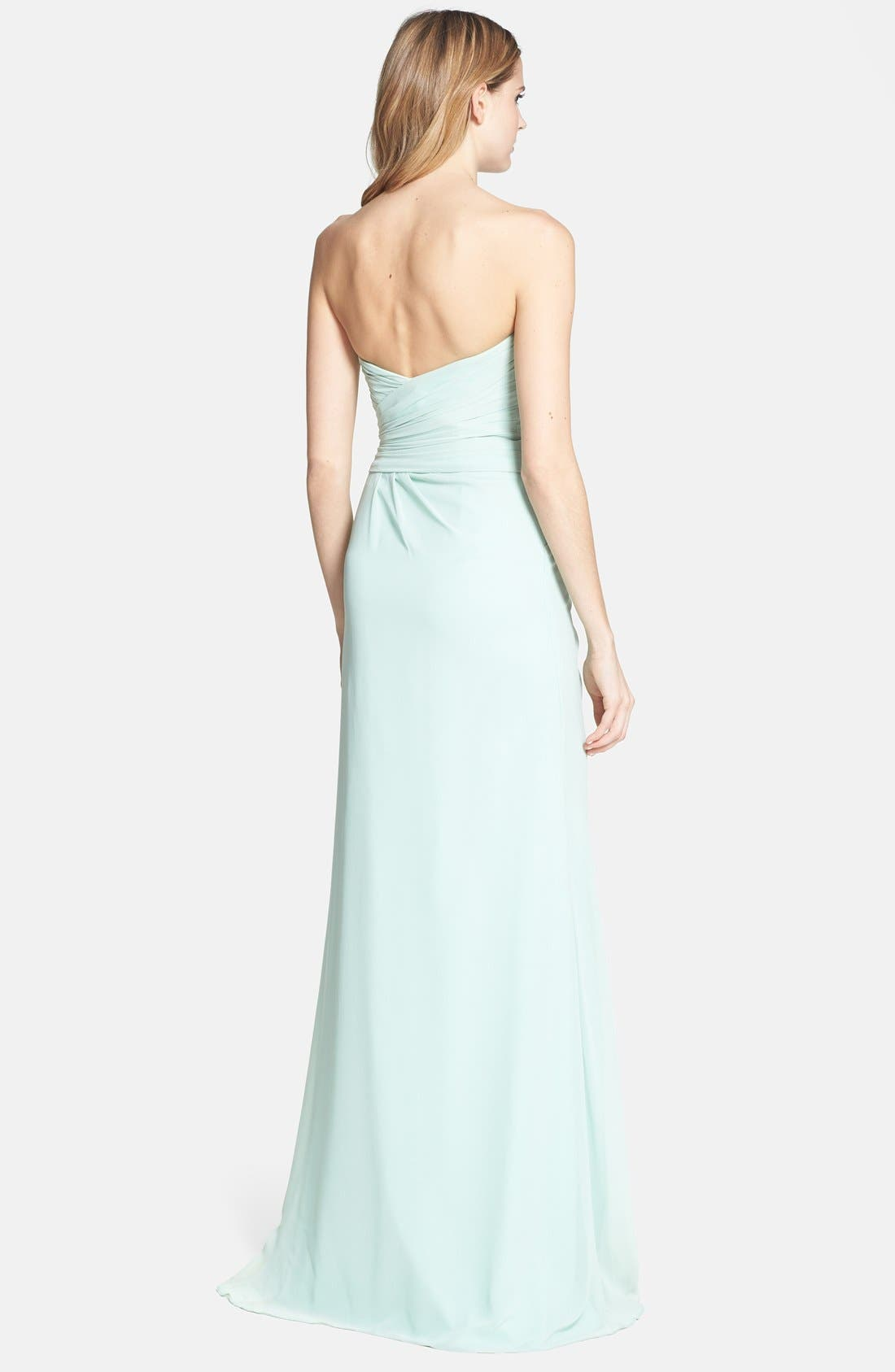 Alternate Image 2  - Monique Lhuillier Bridesmaids Draped Chiffon Gown