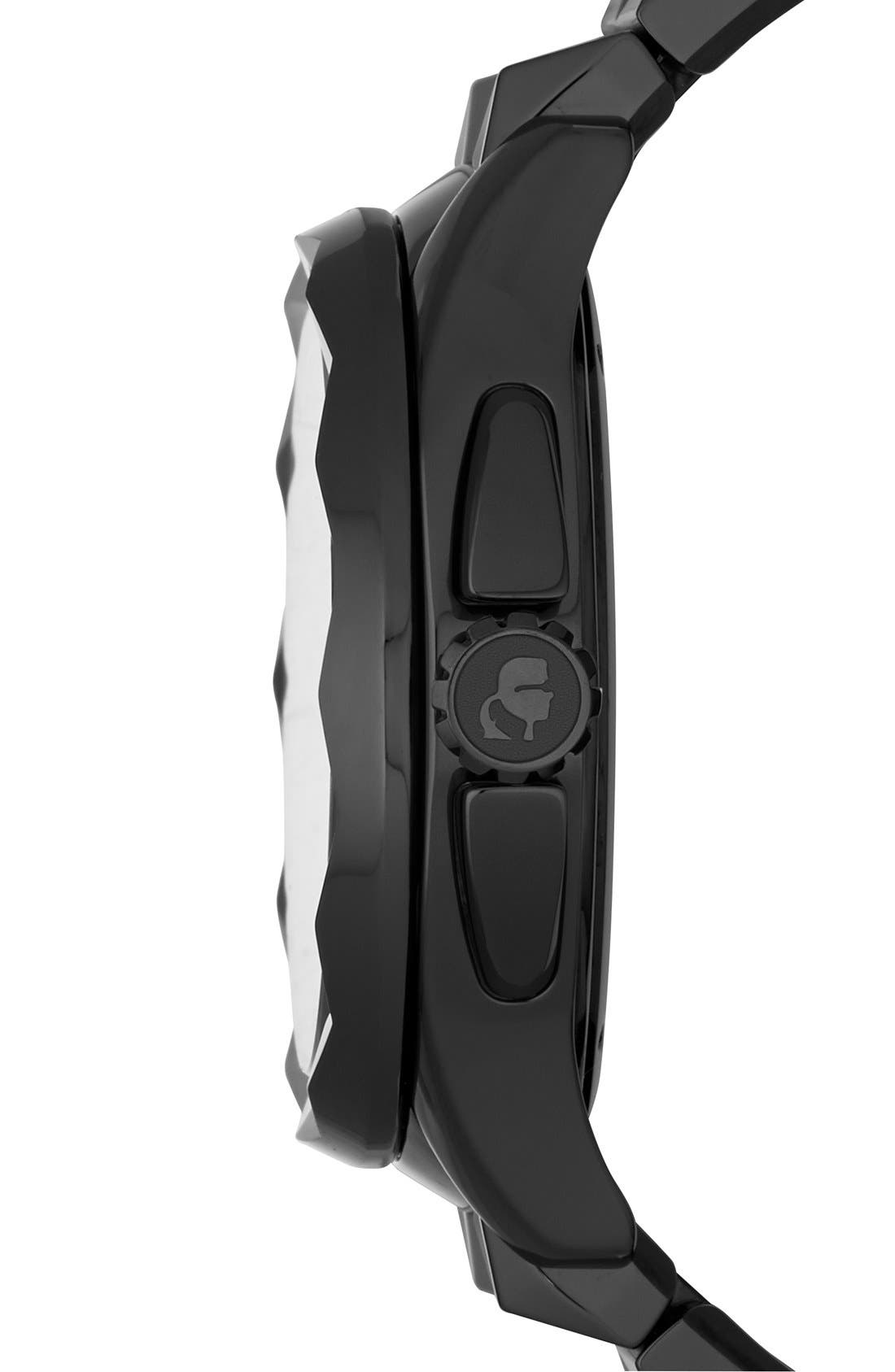 Alternate Image 3  - KARL LAGERFELD '7' Beveled Bezel Ceramic Bracelet Watch, 44mm