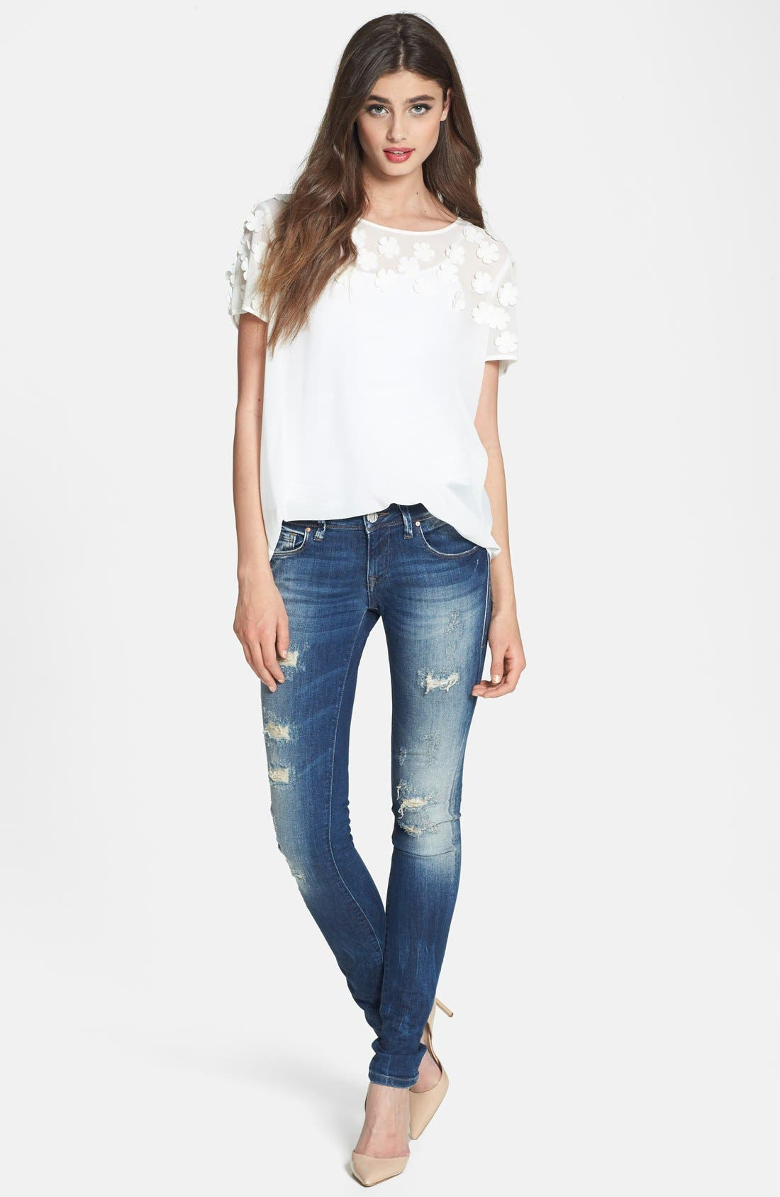 Alternate Image 4  - Mavi Jeans 'Alexa Partly Cloudy' Distressed Stretch Skinny Jeans (Artist Vintage)