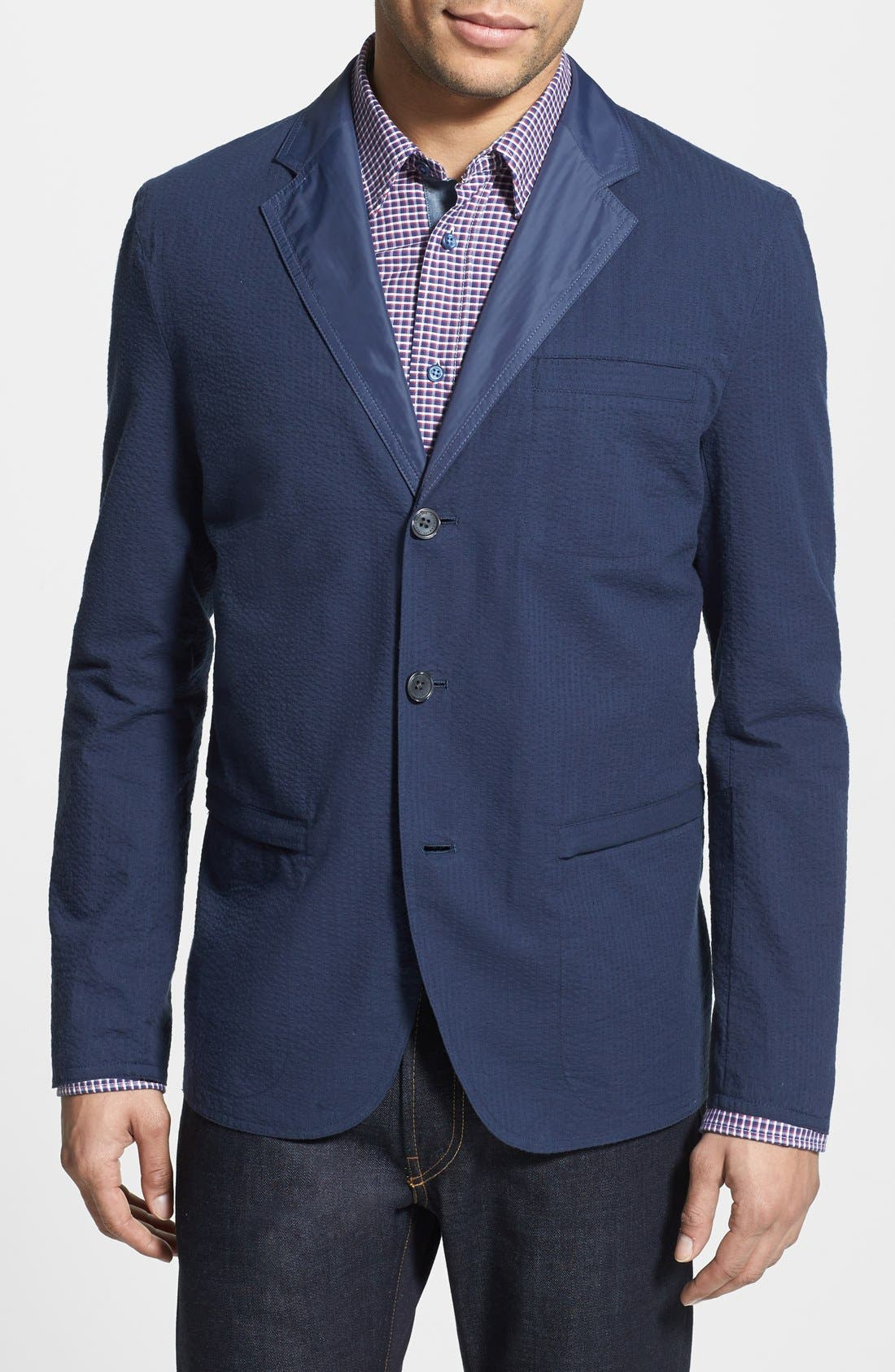 Main Image - Vince Camuto Slim Fit Reversible Seersucker Blazer