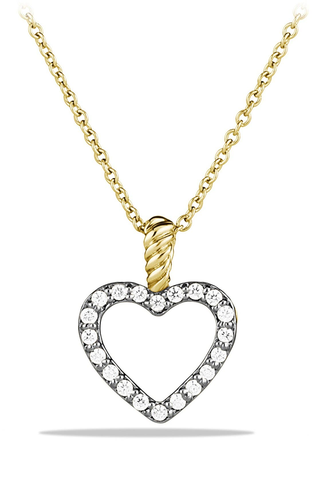 Alternate Image 1 Selected - David Yurman 'Cable Collectibles' Heart Pendant with Diamonds on Chain