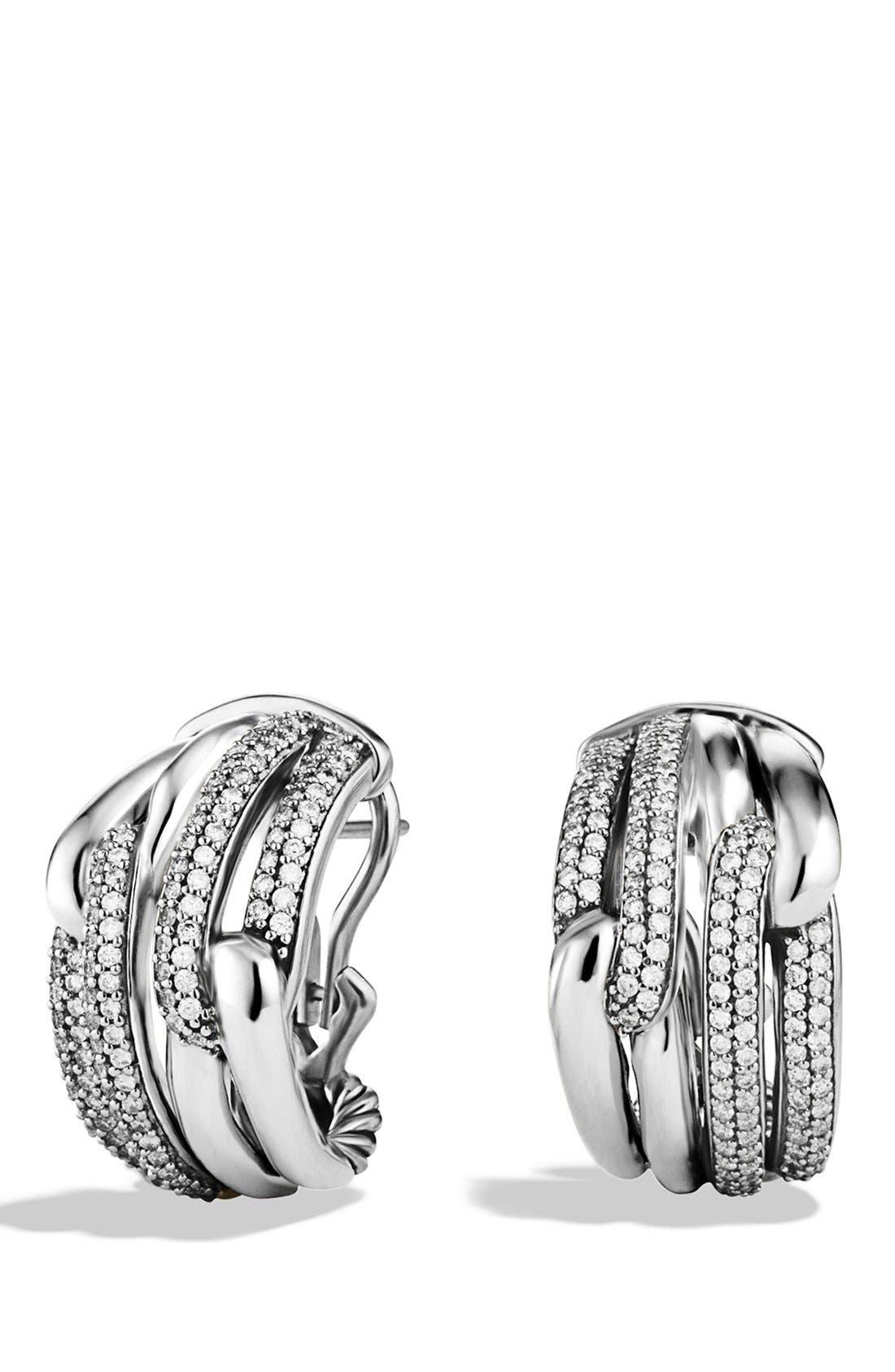 Alternate Image 1 Selected - David Yurman 'Labyrinth' Double Loop Earrings with Diamonds