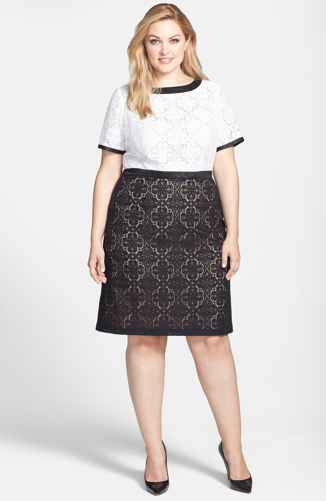 Main Image - Adrianna Papell Colorblock Lace Sheath Dress (Plus Size)