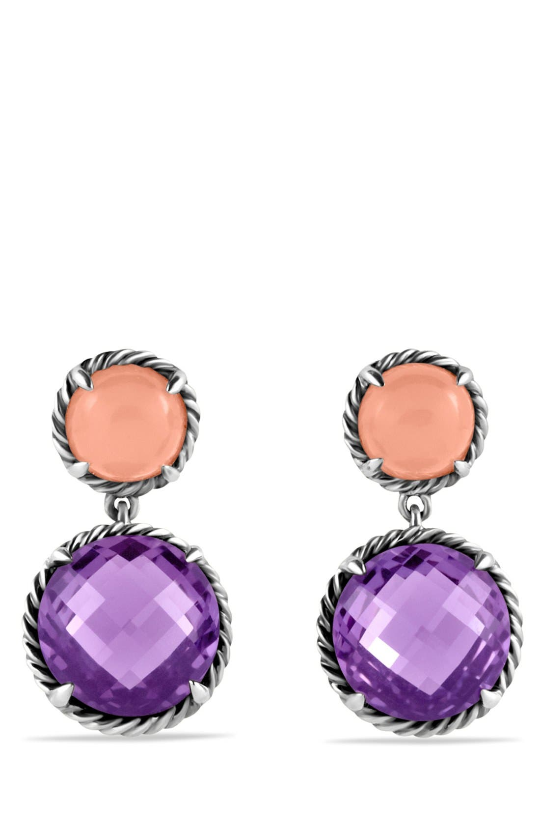 Alternate Image 1 Selected - David Yurman 'Châtelaine' Double Drop Earrings with Amethyst and Guava Quartz