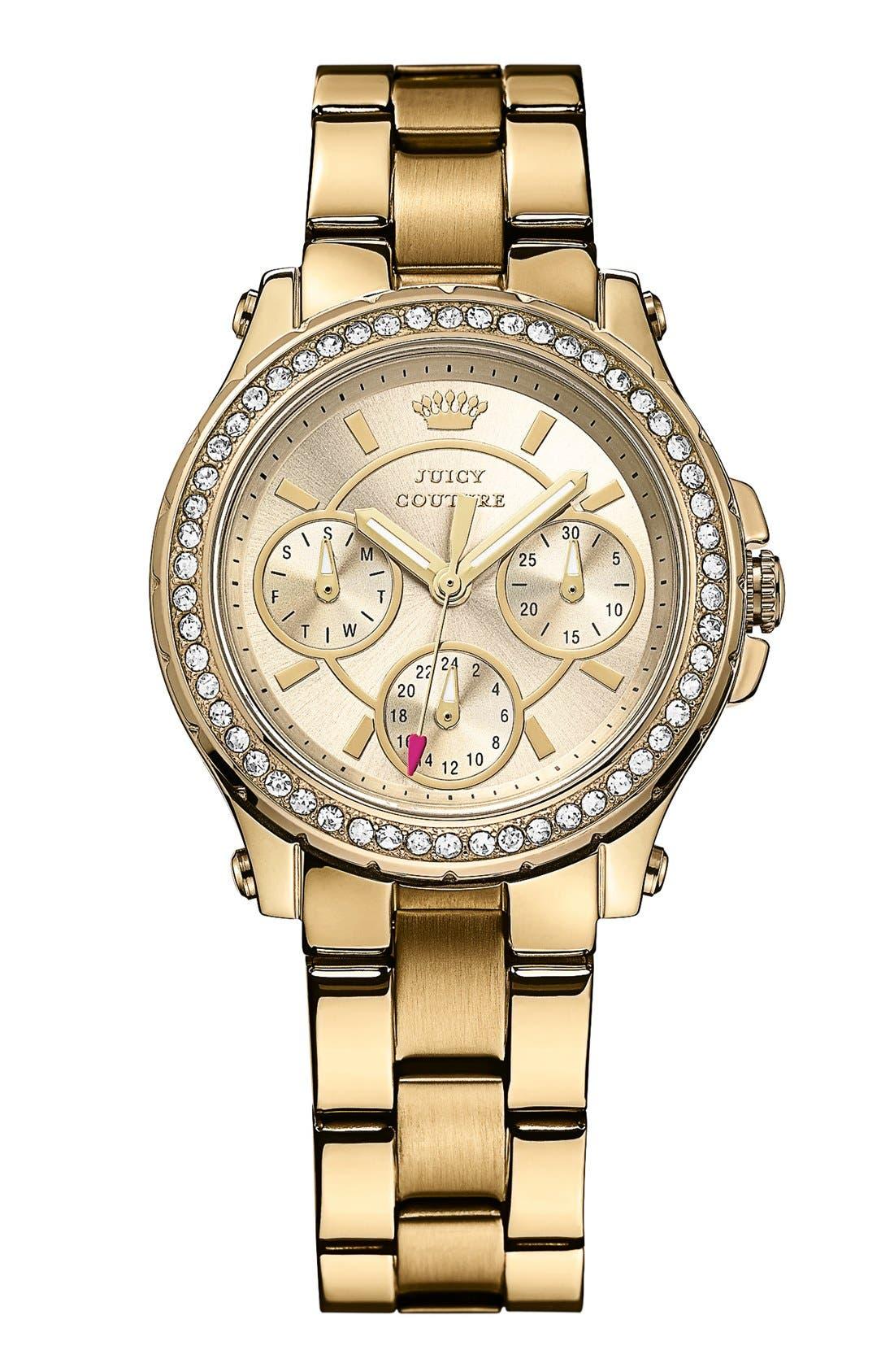 Main Image - Juicy Couture 'Pedigree' Crystal Bezel Bracelet Watch, 32mm
