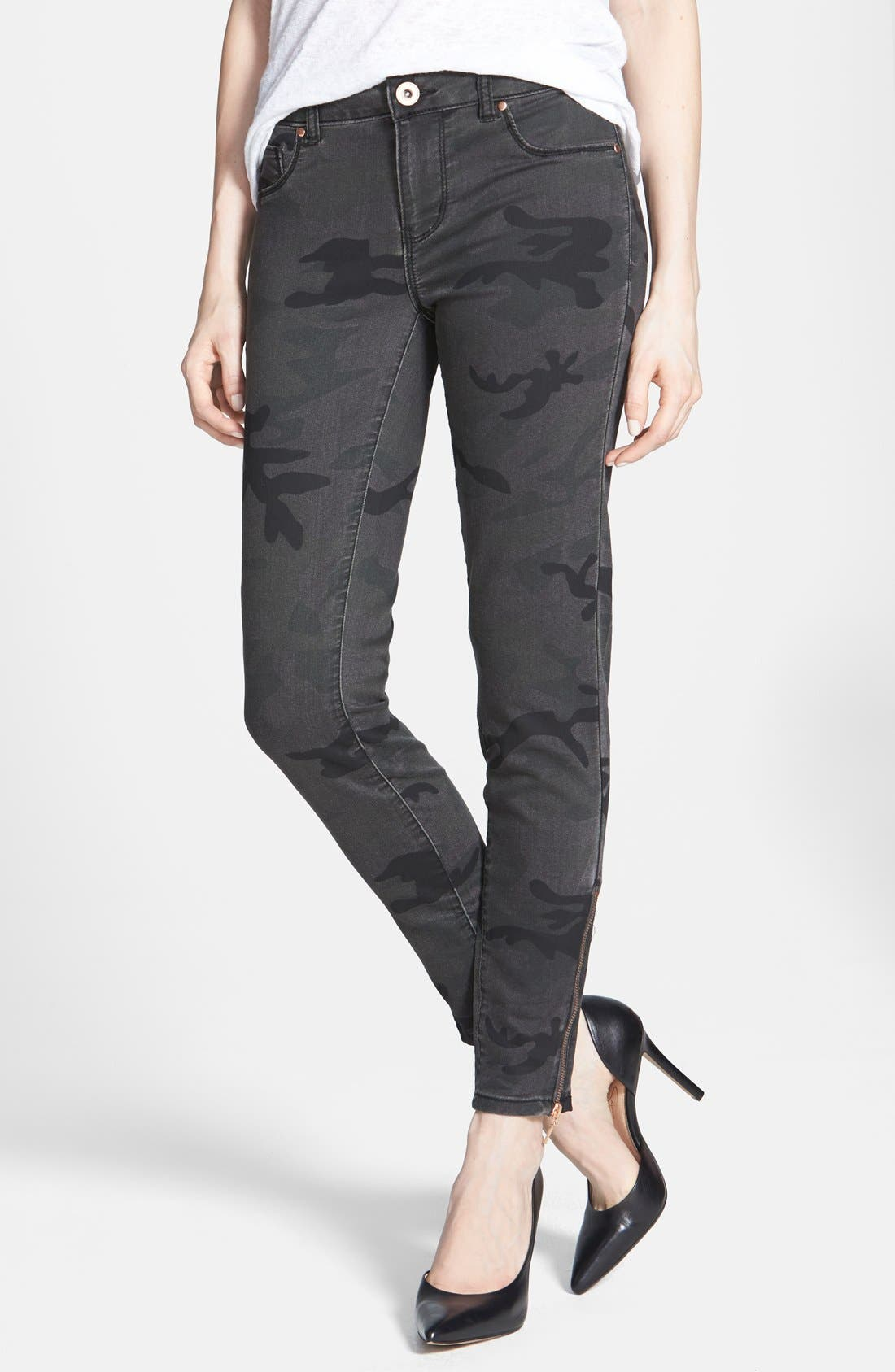 Alternate Image 1 Selected - Fire Camouflage Skinny Jeans (Camo) (Juniors)