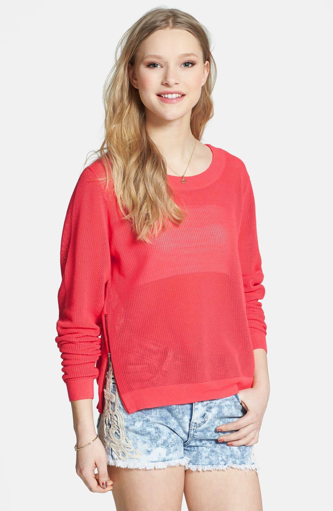 Alternate Image 1 Selected - BP. Open Knit Side Zip Sweater (Juniors)