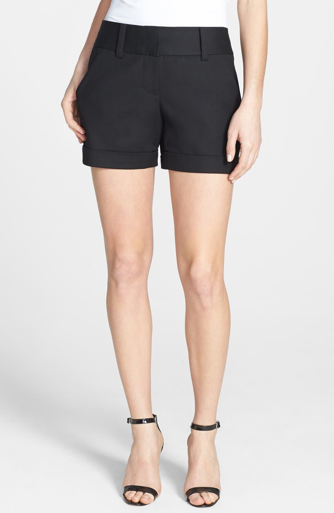 Main Image - Vince Camuto Flat Front Cuff Stretch Cotton Shorts (Regular & Petite)