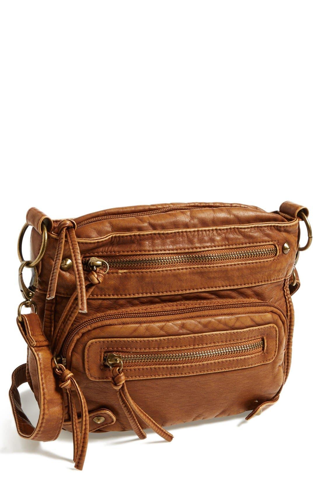 Alternate Image 1 Selected - T-Shirt & Jeans Zip Pocket Small Crossbody Bag (Juniors)