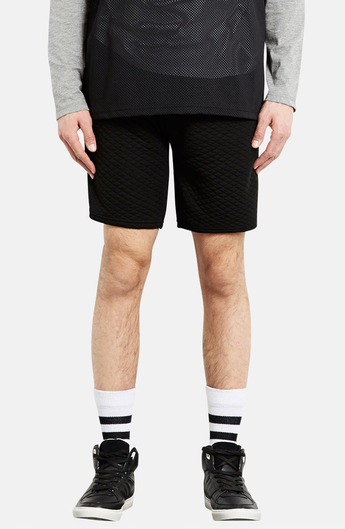 Alternate Image 1 Selected - Topman Trim Fit Quilted Shorts