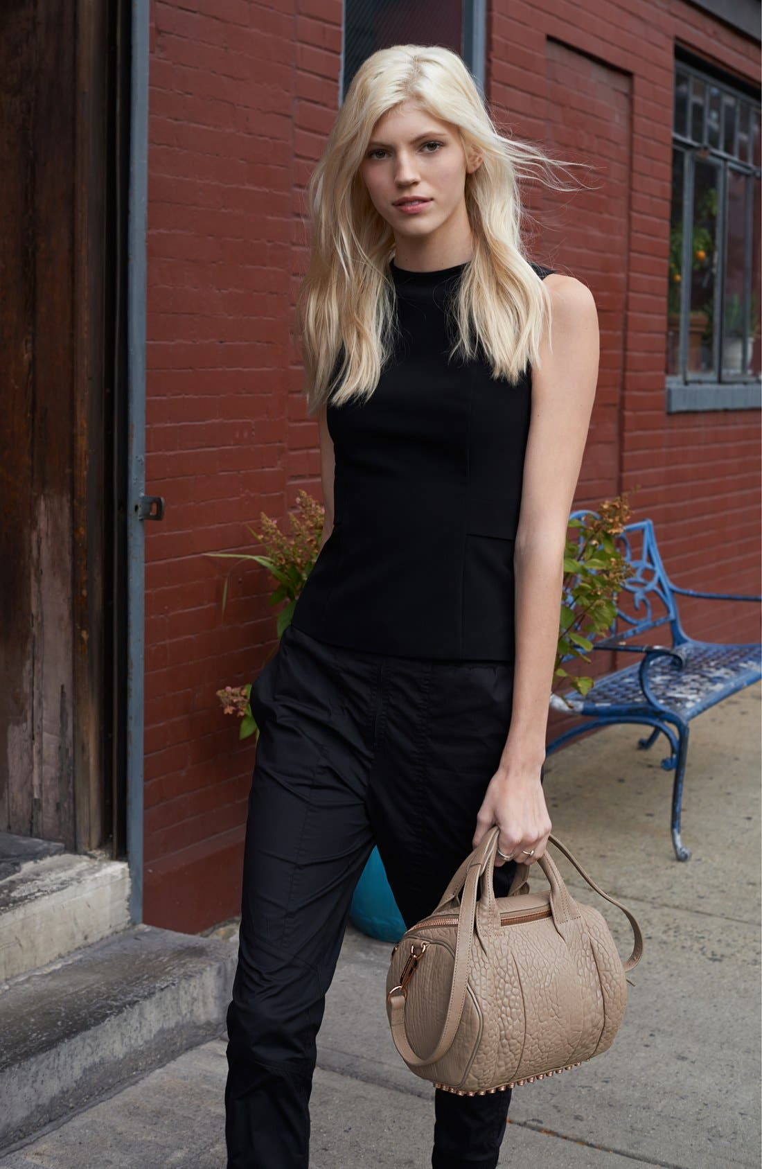 Alternate Image 1 Selected - Alexander Wang Leather Satchel & T by Alexander Wang Techno Shell, Track Pants