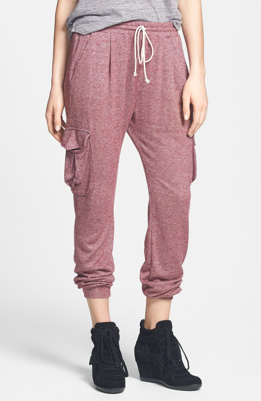 Alternate Image 1 Selected - Lily White Cargo Sweatpants (Juniors) (Online Only)