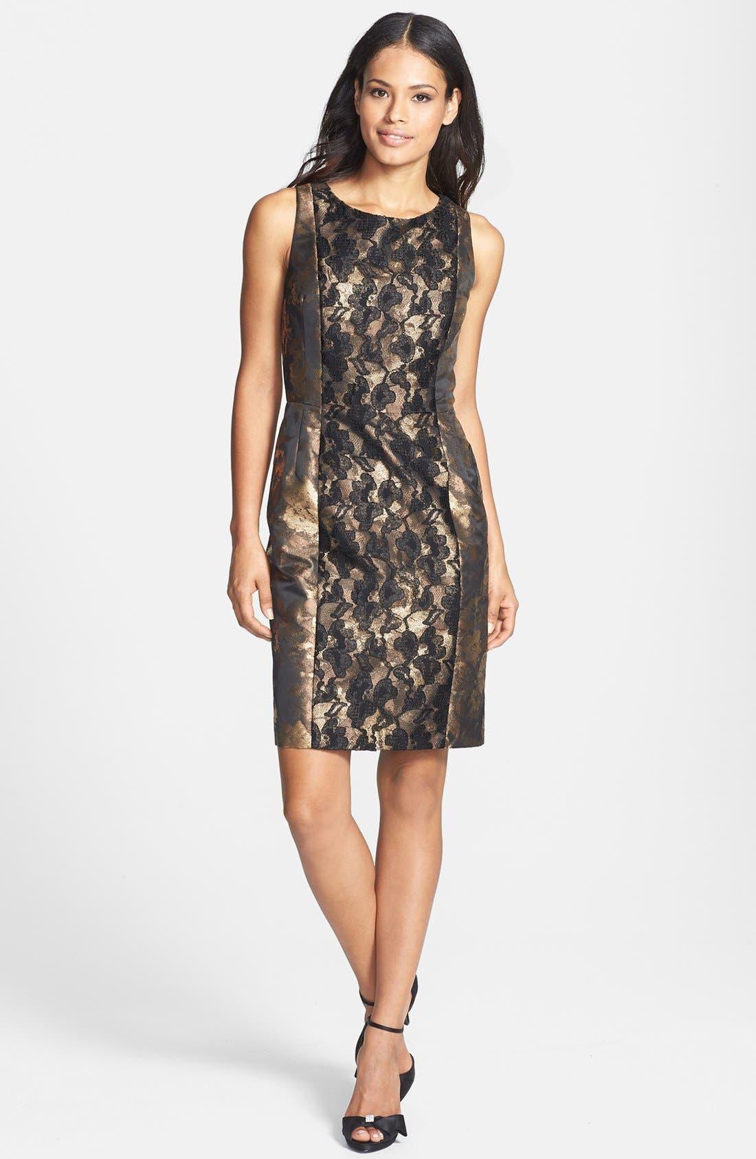 Main Image - Donna Ricco Metallic Lace & Jacquard Sheath Dress (Petite)