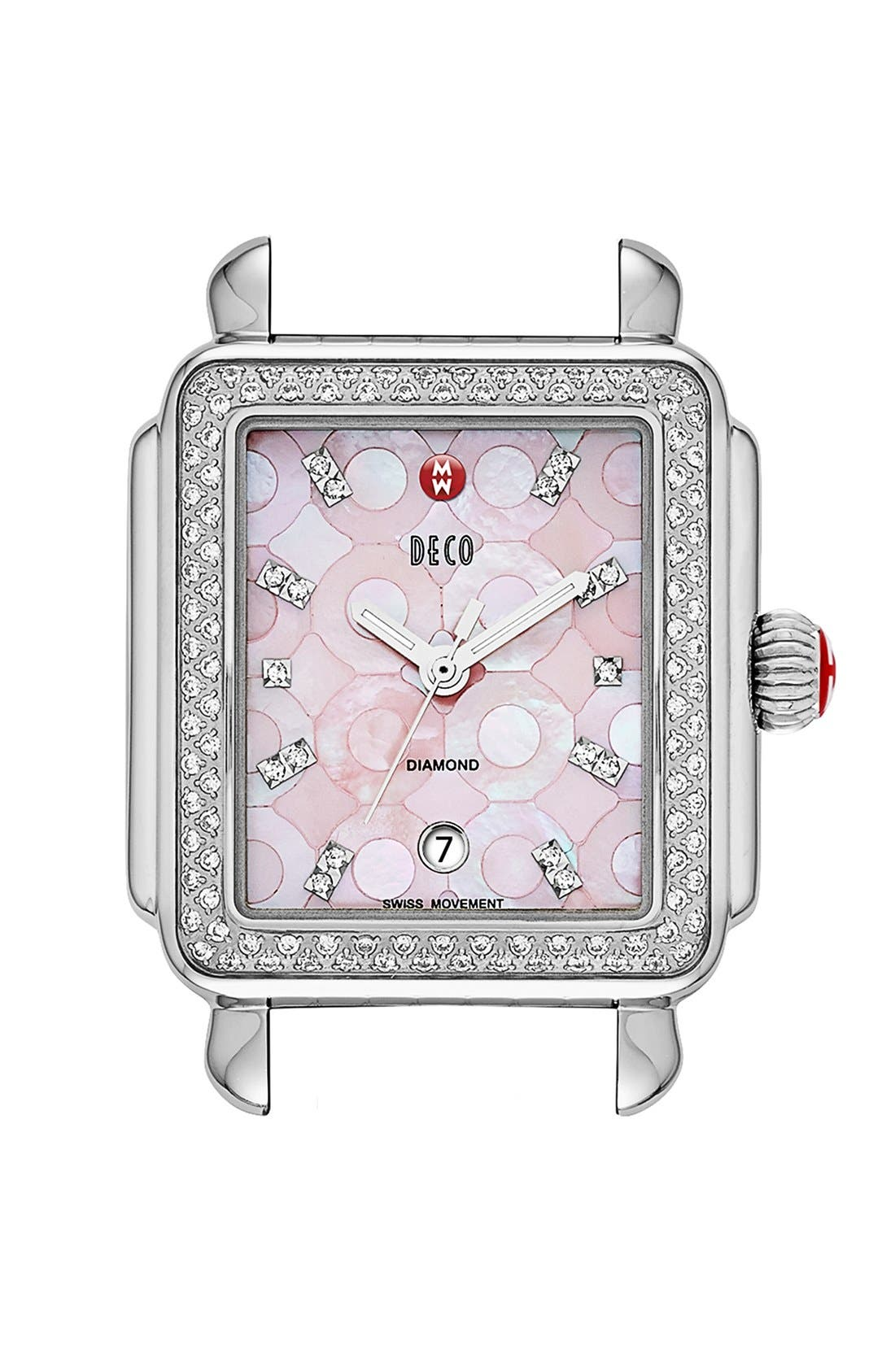 Main Image - MICHELE 'Deco Diamond' Pink Mosaic Dial Watch Case, 33mm x 35mm