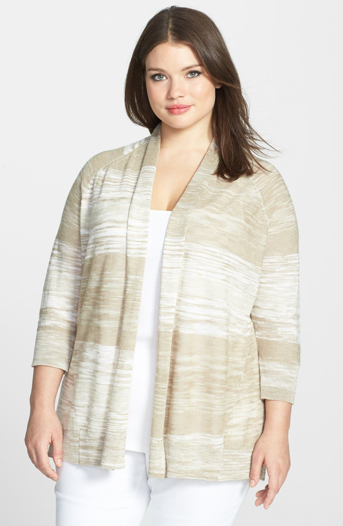 Main Image - Sejour Spaced Dyed High/Low Cardigan (Plus Size)