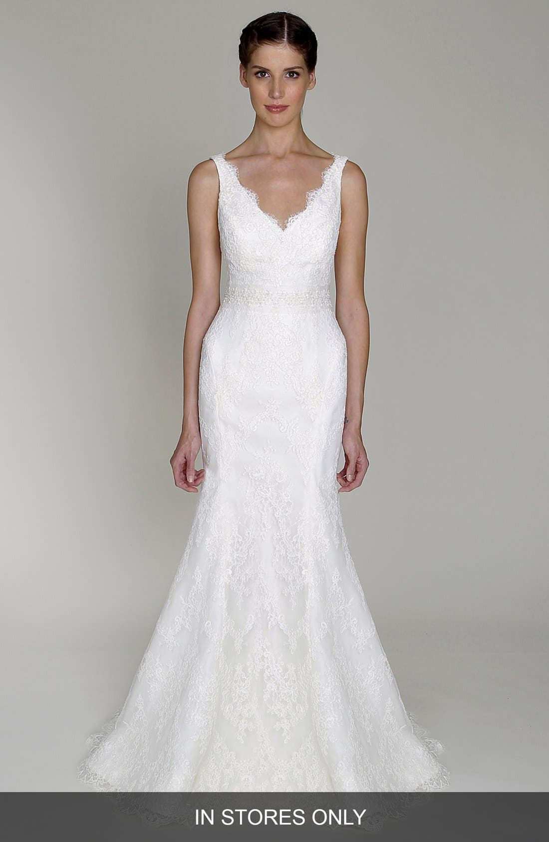 Main Image - BLISS Monique Lhuillier Embroidered Lace Trumpet Dress (In Stores Only)