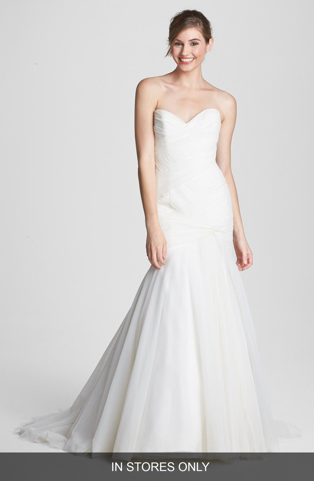 Main Image - Anne Barge 'Aimee' Ruched Mesh Mermaid Dress (In Stores Only)