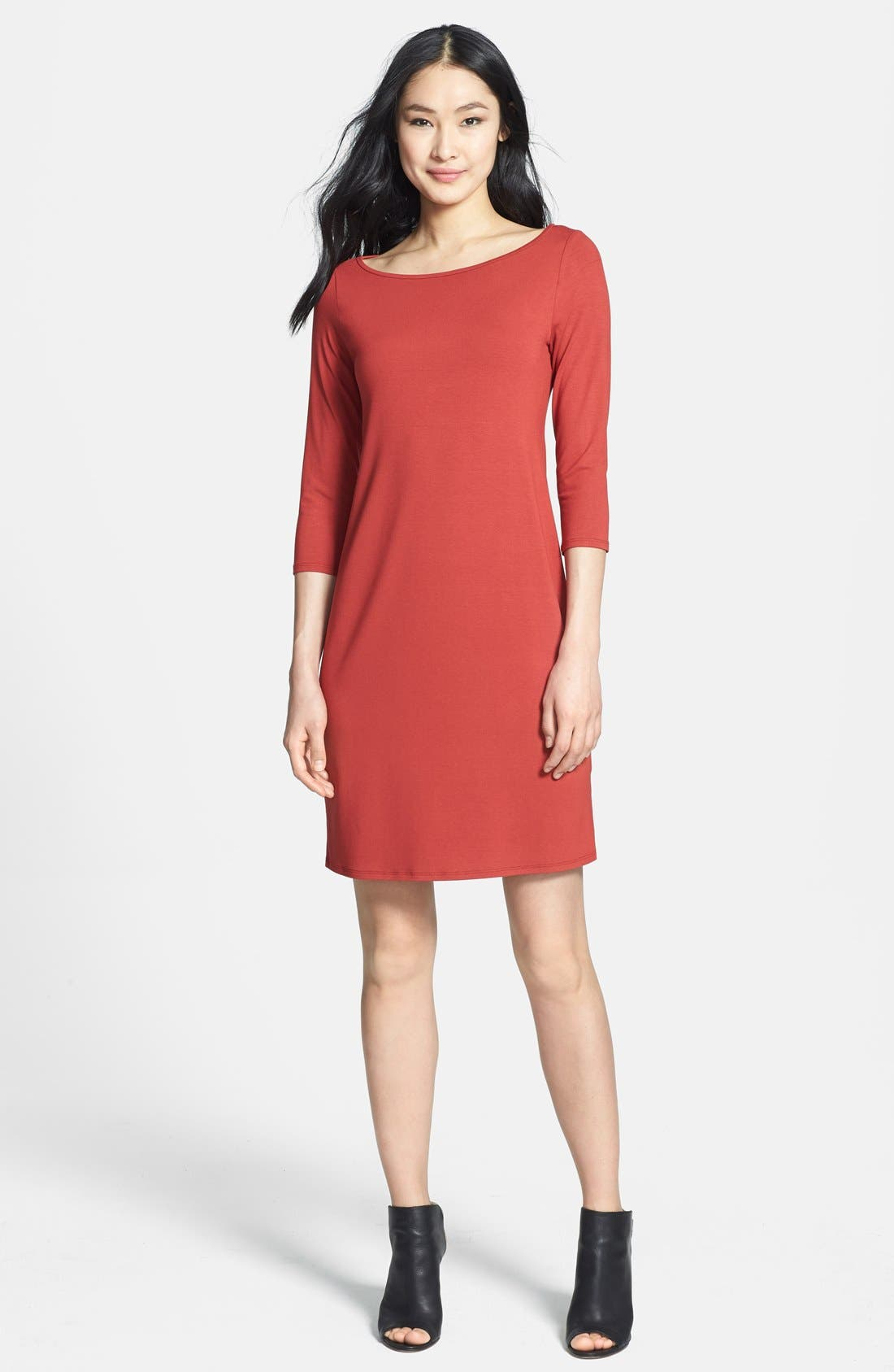 Main Image - Eileen Fisher Bateau Neck Jersey Dress
