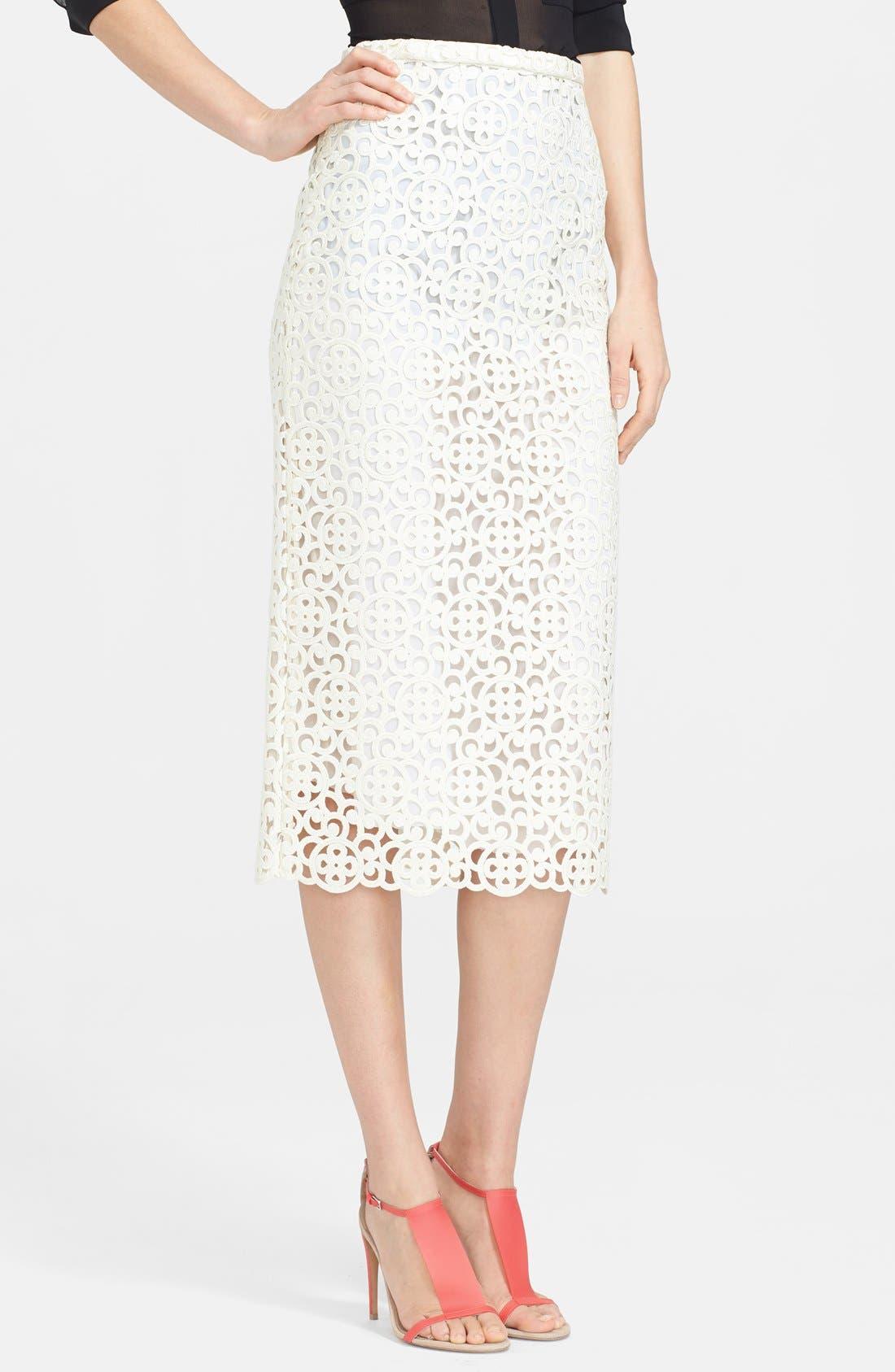 Main Image - Burberry Prorsum Embroidered Lace Midi Skirt