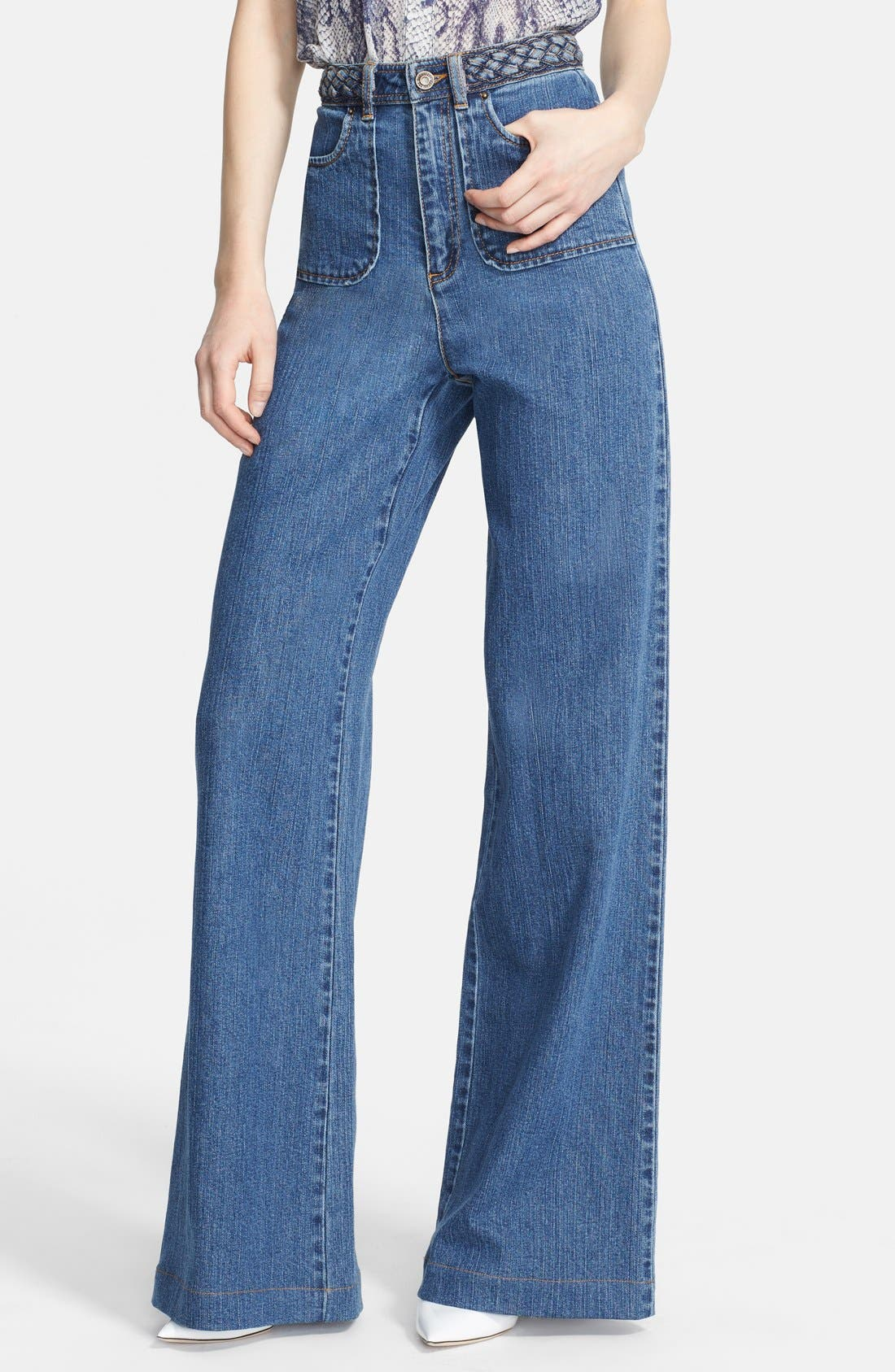 Alternate Image 1 Selected - Rachel Zoe 'Ella' Braided Waist Wide Leg Jeans