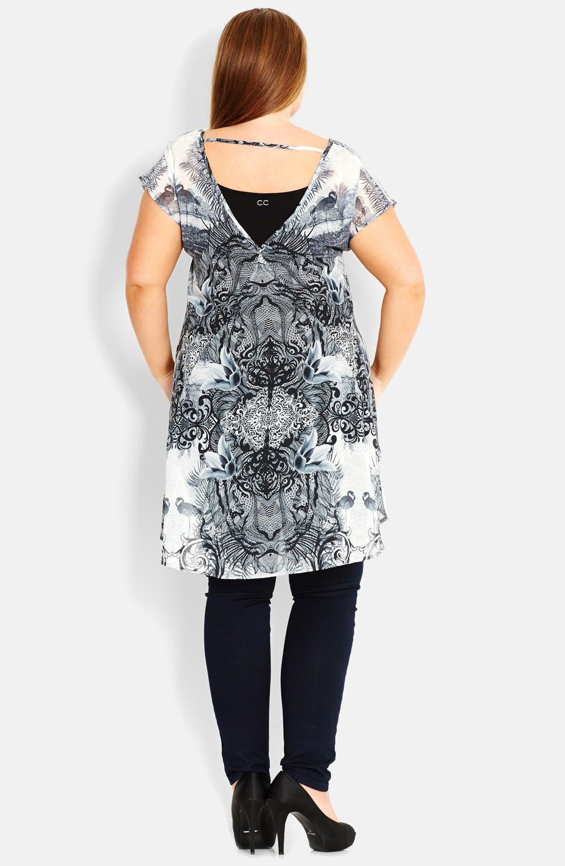 Alternate Image 2  - City Chic 'Tahitian Jungle' High-Low Top (Plus Size)