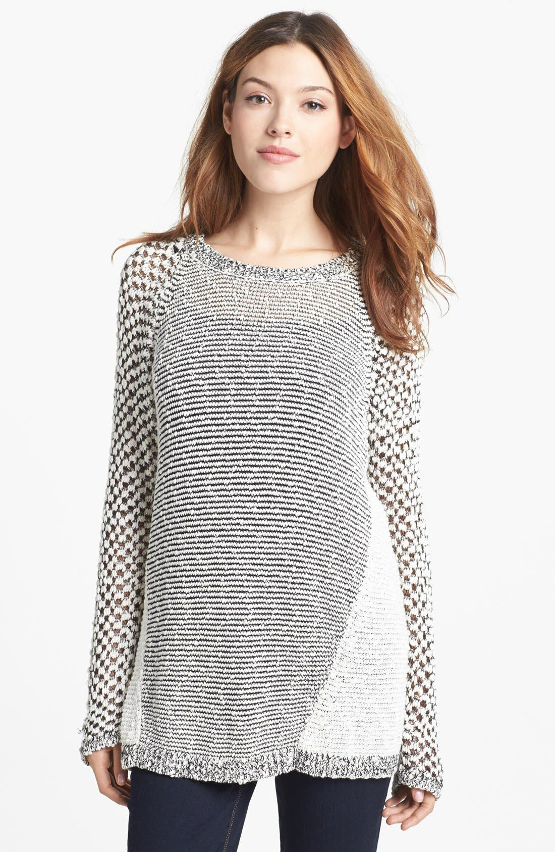 Main Image - Two by Vince Camuto Mixed Stitch Crewneck Sweater (Petite)
