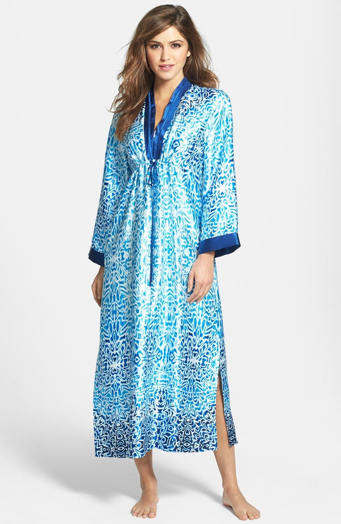 Oscar de la renta sleepwear 39 ocean breeze 39 satin charmeuse for Caftan avec satin de chaise