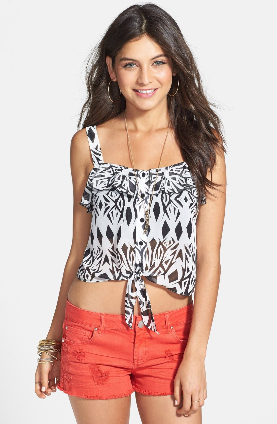 Alternate Image 1 Selected - Mimi Chica Ruffle Tie Front Tank (Juniors)