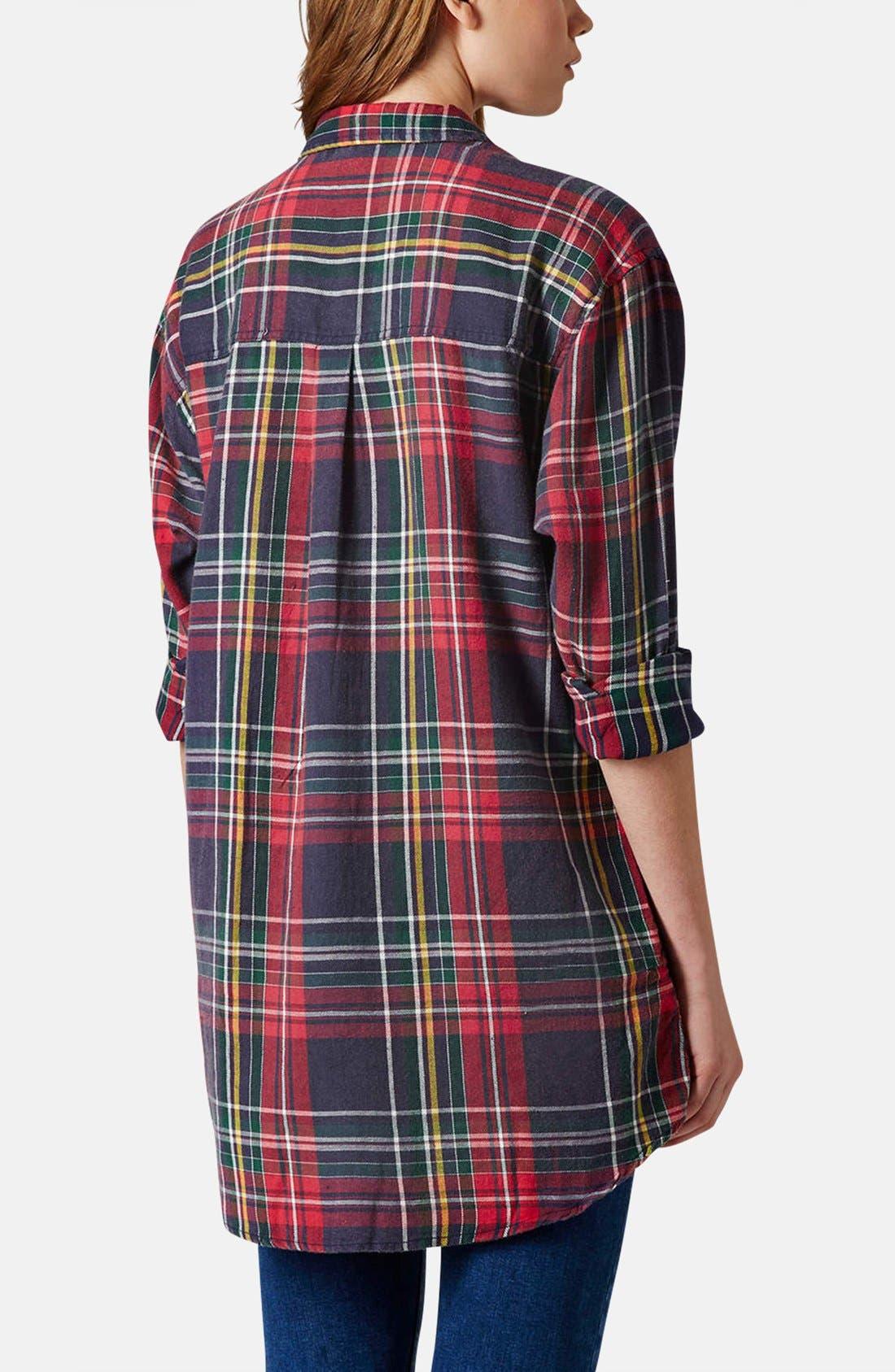 Alternate Image 2  - Topshop Oversized Plaid Cotton Shirt