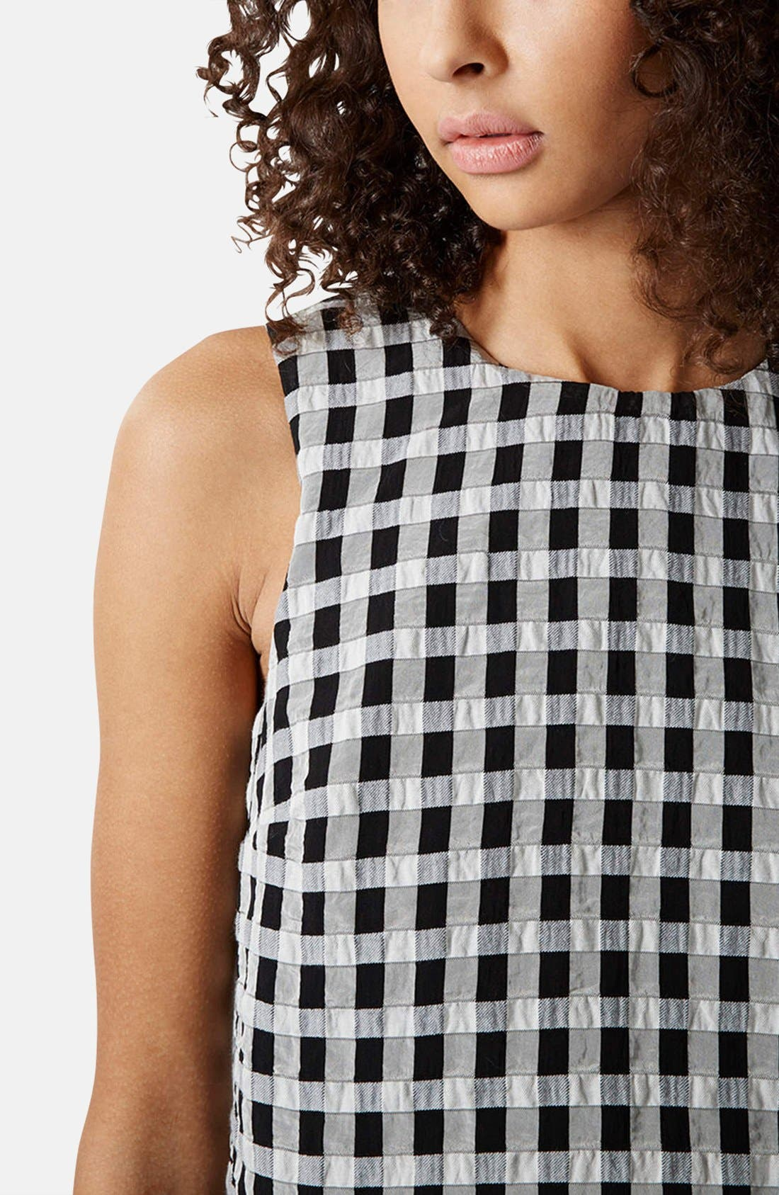 Alternate Image 4  - Topshop Textured Gingham Shell