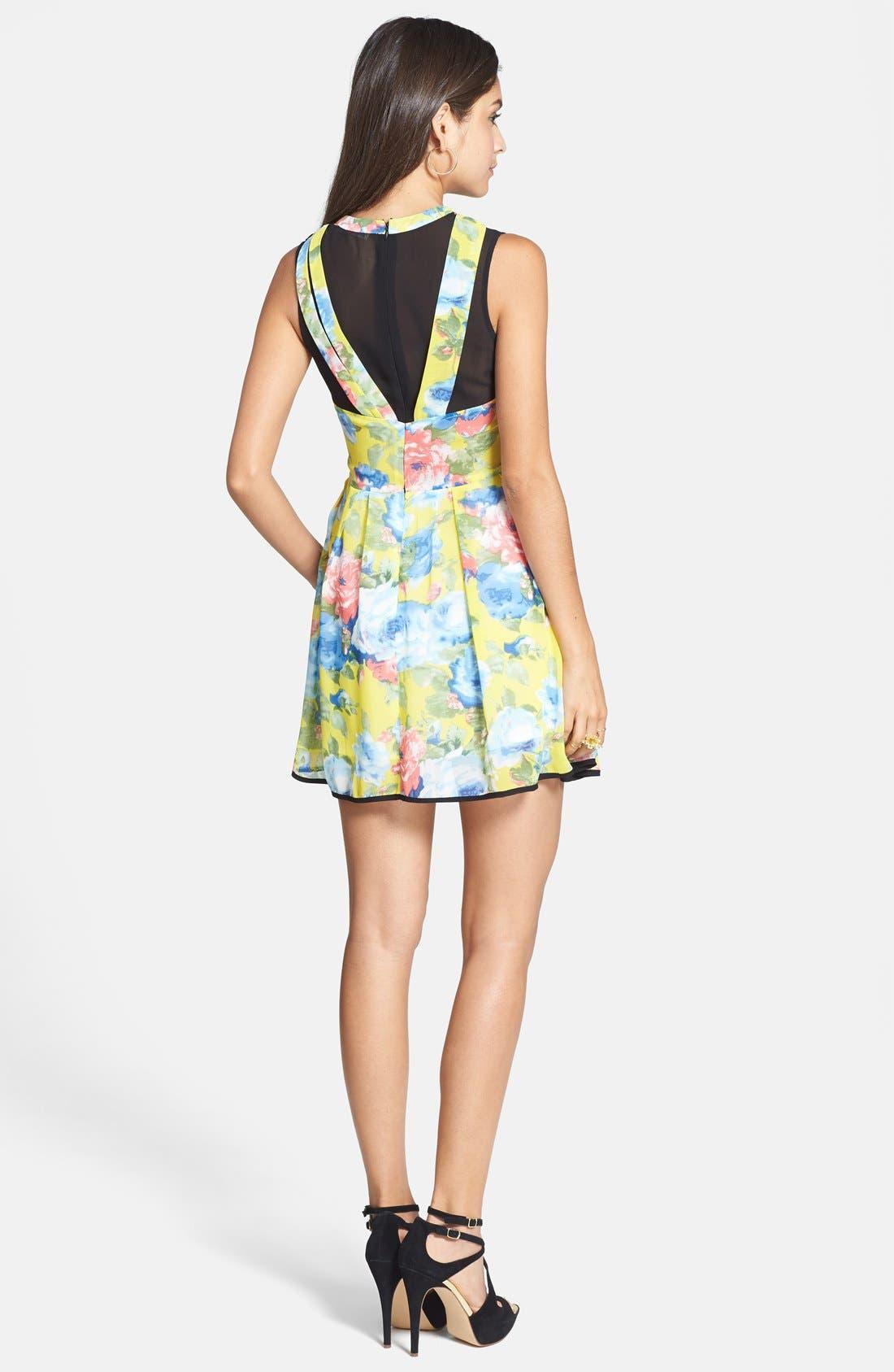 Alternate Image 2  - Paper Crane Contrast Panel Floral Skater Dress (Juniors) (Online Only)