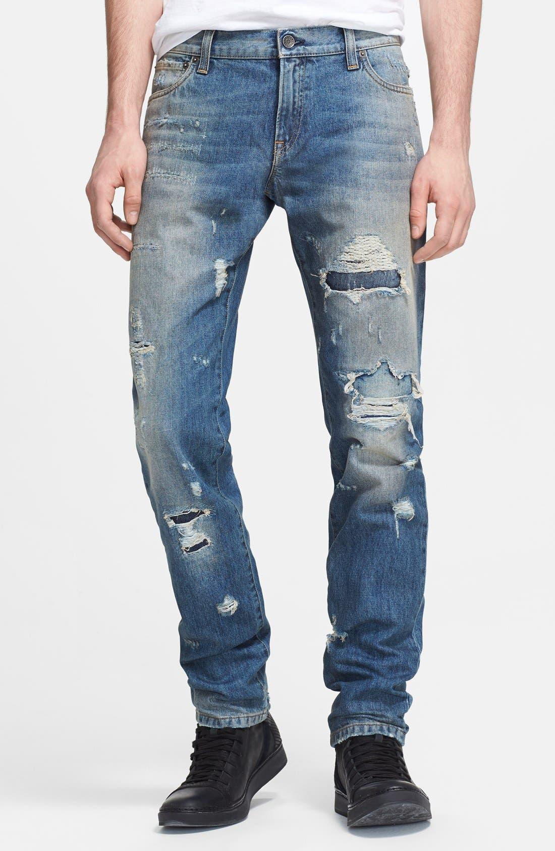 Alternate Image 1 Selected - Dolce&Gabbana Slim Fit Destroyed Jeans (Blue)
