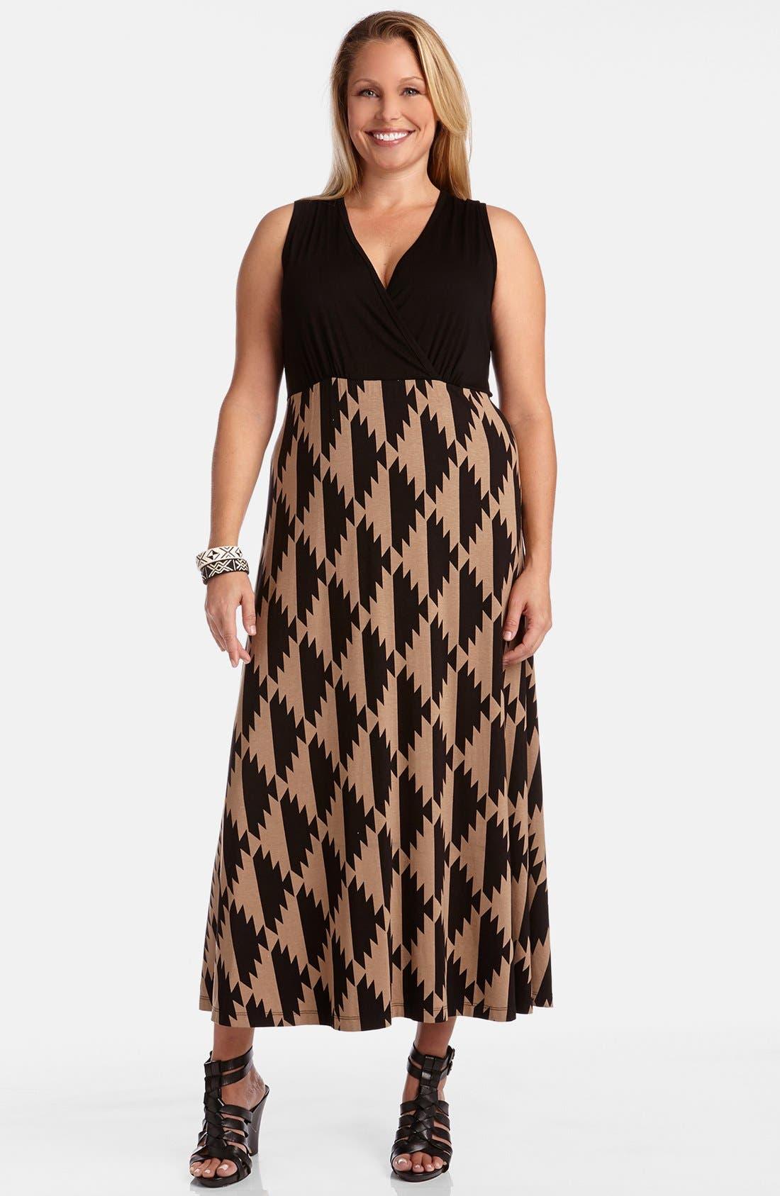 Alternate Image 1 Selected - Karen Kane 'Island Print' Sleeveless V-Neck Maxi Dress