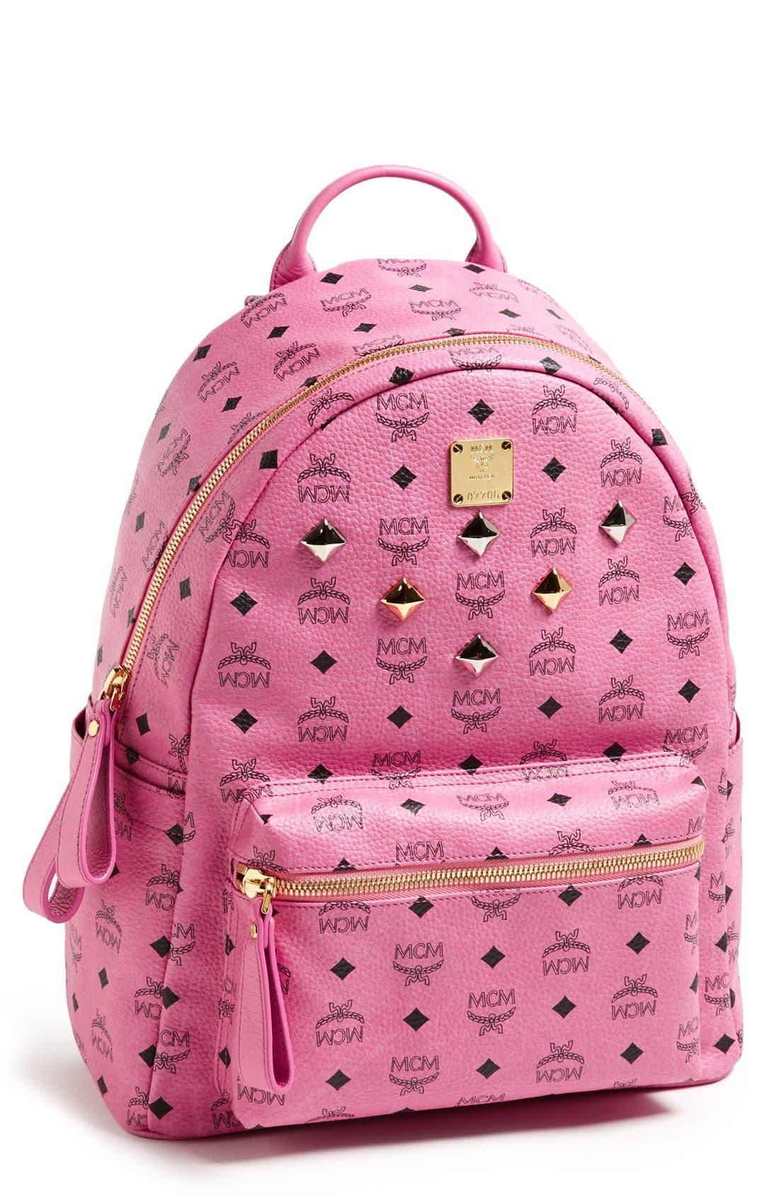 Main Image - MCM 'Medium Stark - Visetos' Studded Coated Canvas Backpack
