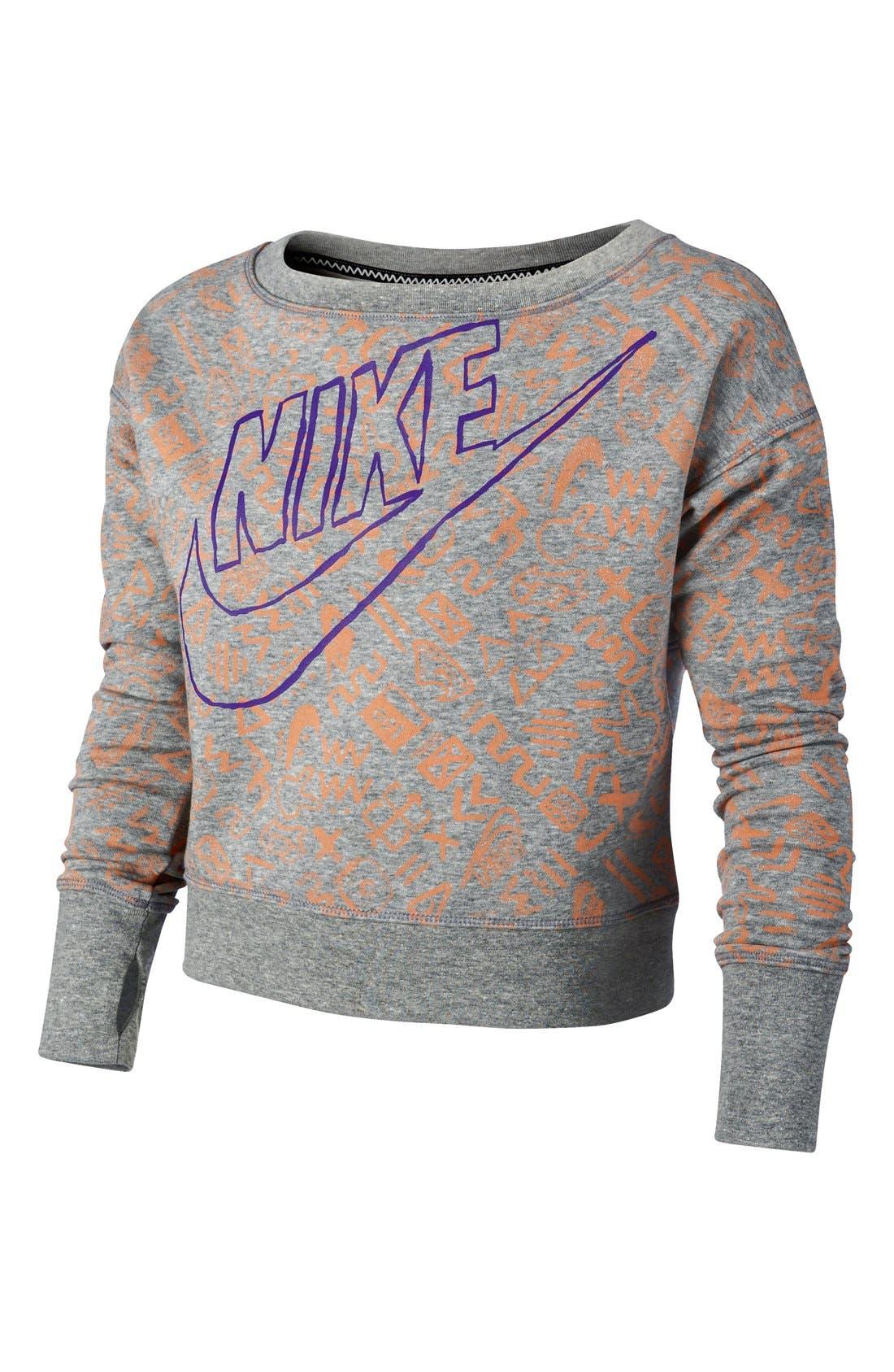 Alternate Image 1 Selected - Nike 'Run Heritage' Crop Sweatshirt (Big Girls)