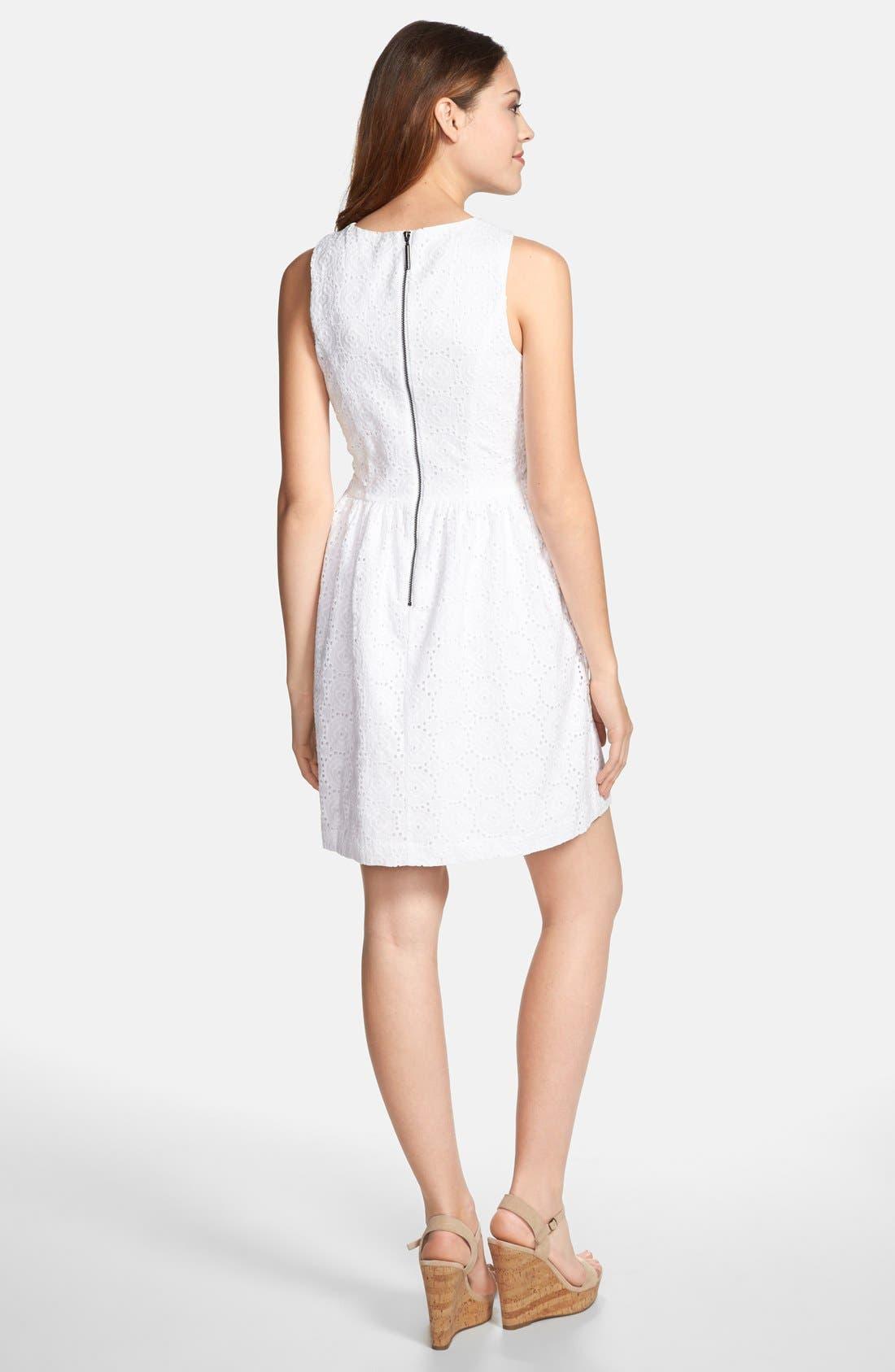 Alternate Image 2  - kensie Embroidered Eyelet Fit & Flare Dress