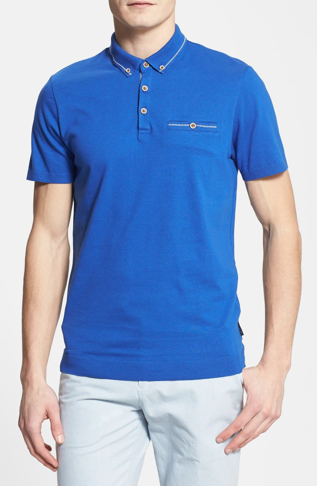 Main Image - Ted Baker London 'Rosbowl' Solid Knit Polo
